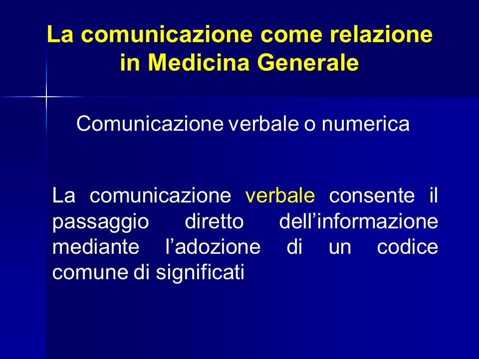 La comunicazione come relazione in Medicina Generale Comunicazione verbale o numerica La comunicazione verbale consente il passaggio diretto dellinfor