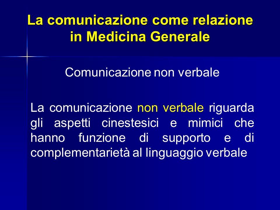La comunicazione come relazione in Medicina Generale Comunicazione non verbale La comunicazione non verbale riguarda gli aspetti cinestesici e mimici