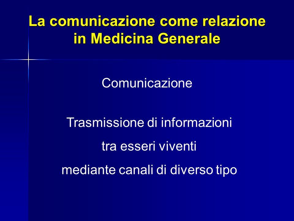 La comunicazione come relazione in Medicina Generale La comunicazione è un processo che avviene tra personalità che agiscono tra loro con dei significati e nel momento in cui comunicano esprimono la relazione e definiscono il ruolo