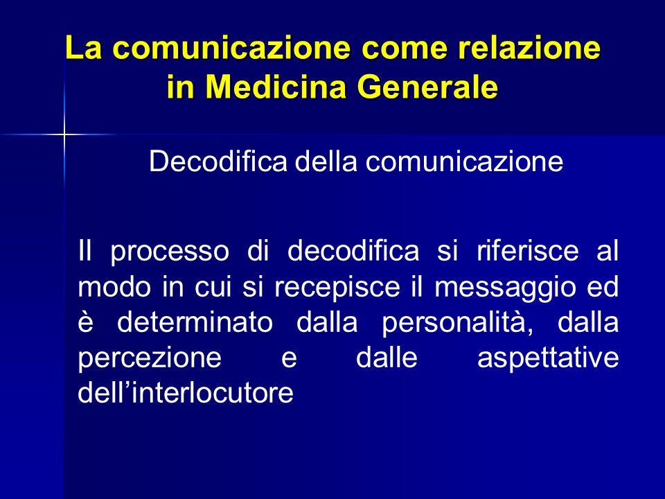 La comunicazione come relazione in Medicina Generale Decodifica della comunicazione Il processo di decodifica si riferisce al modo in cui si recepisce