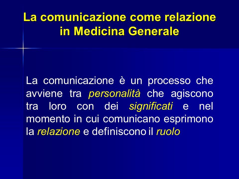 La comunicazione come relazione in Medicina Generale La comunicazione è un processo che avviene tra personalità che agiscono tra loro con dei signific