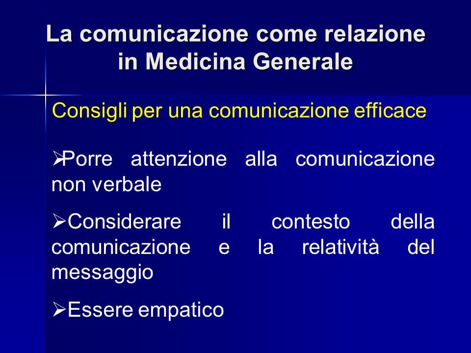 La comunicazione come relazione in Medicina Generale Consigli per una comunicazione efficace Porre attenzione alla comunicazione non verbale Considera