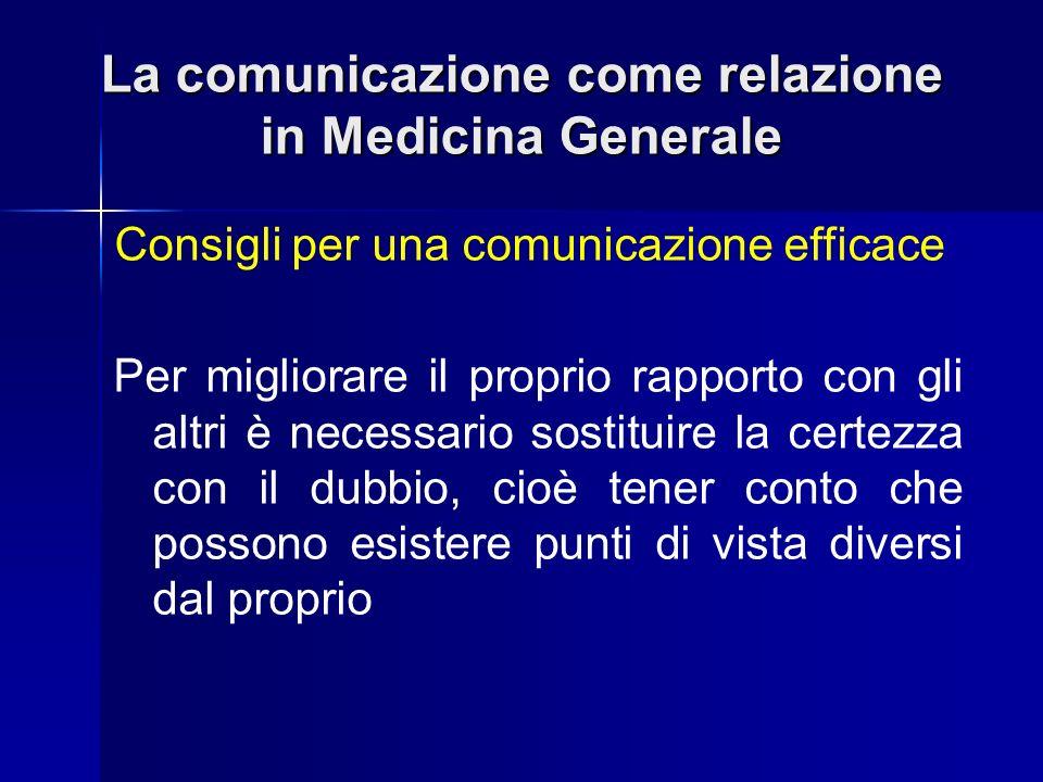 La comunicazione come relazione in Medicina Generale Consigli per una comunicazione efficace Per migliorare il proprio rapporto con gli altri è necess