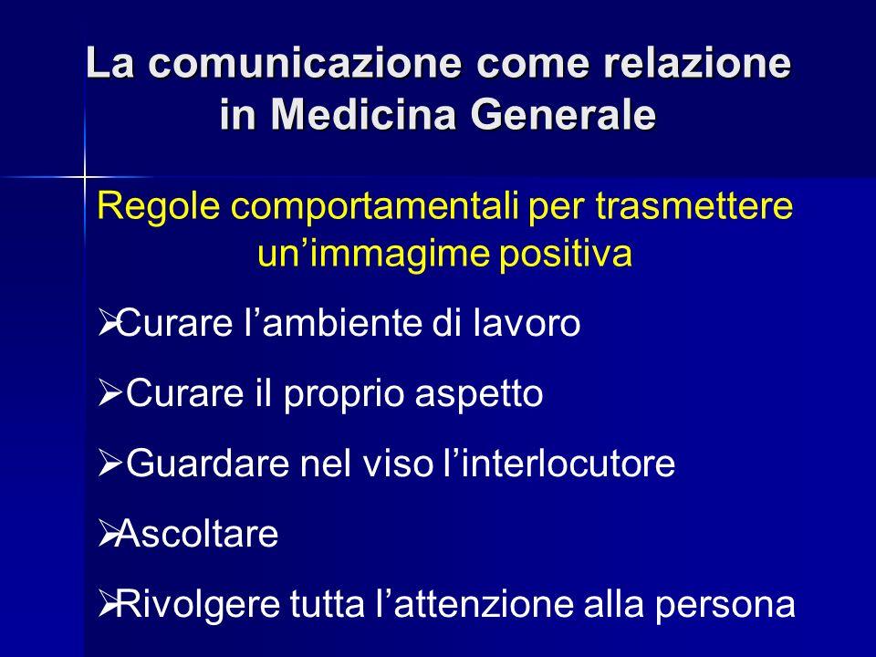 La comunicazione come relazione in Medicina Generale Regole comportamentali per trasmettere unimmagime positiva Curare lambiente di lavoro Curare il p
