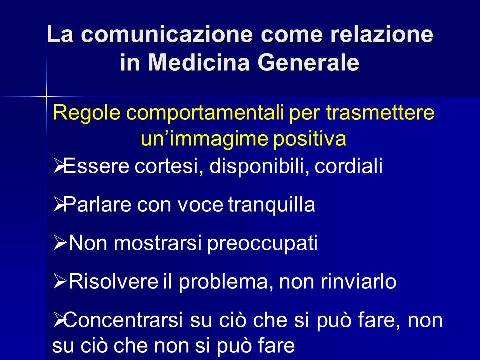 La comunicazione come relazione in Medicina Generale Regole comportamentali per trasmettere unimmagime positiva Essere cortesi, disponibili, cordiali