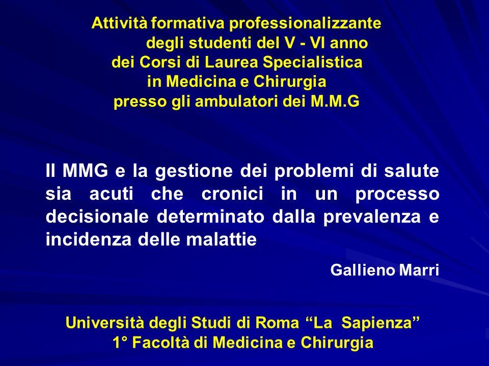 Il MMG e la gestione dei problemi di salute Screening per k mammario Motivi del fallimento Non coscienza della popolazione dellutilità degli screening e diffidenza verso il SSN Non coinvolgimento o scarsa motivazione del M.M.G MMG e prevenzione