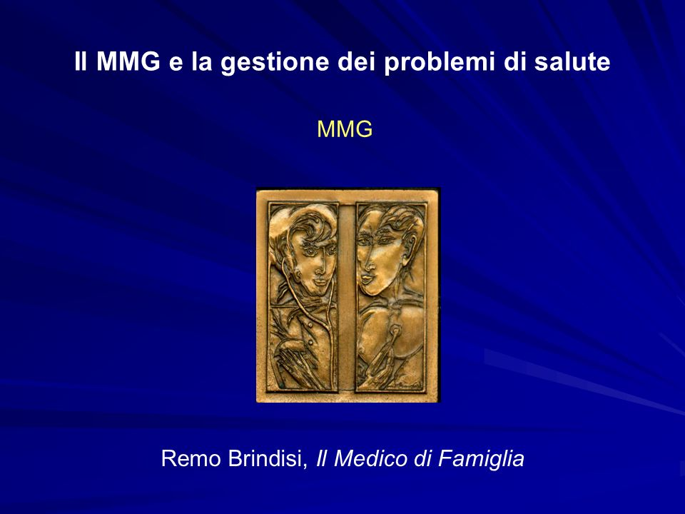 Il MMG e la gestione dei problemi di salute I MMG sono distribuiti nel territorio nazionale in maniera capillare e statisticamente rappresentativa, quindi sono in grado di fornire dati per modelli epidemiologici validi e significativi Gli archivi del M.M.G.
