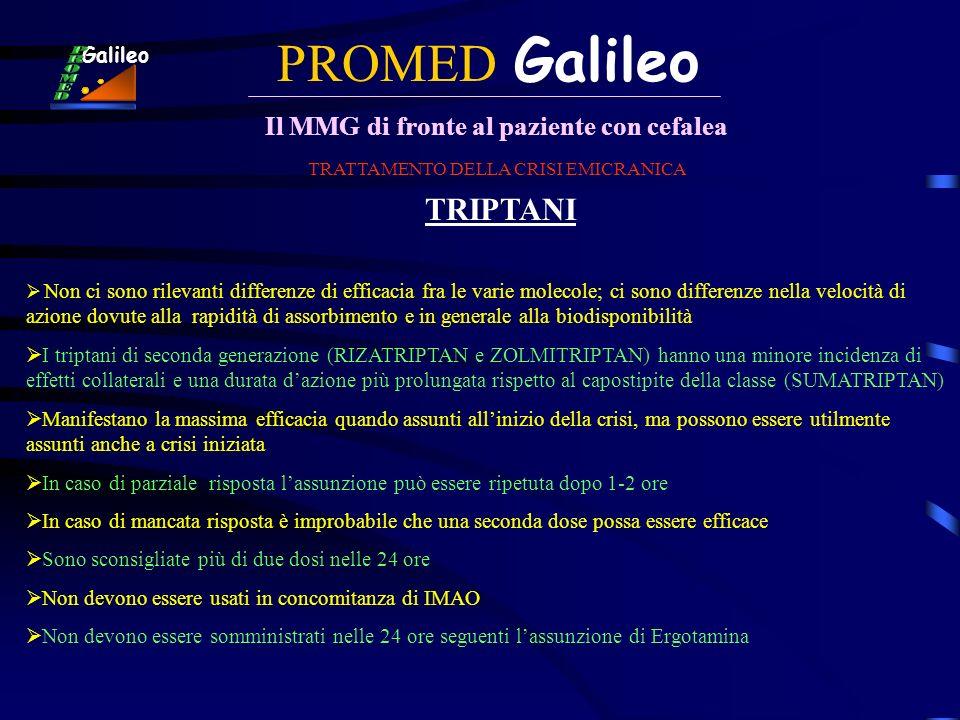PROMED Galileo Il MMG di fronte al paziente con cefalea Galileo TRATTAMENTO DELLA CRISI EMICRANICA TRIPTANI Non ci sono rilevanti differenze di effica
