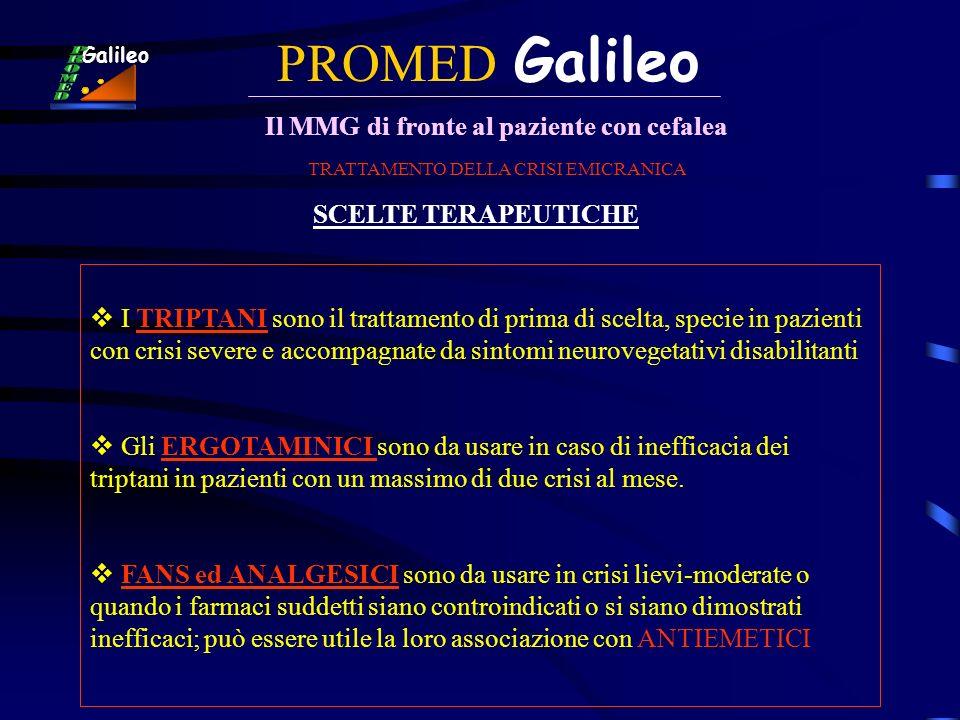 PROMED Galileo Il MMG di fronte al paziente con cefalea Galileo TRATTAMENTO DELLA CRISI EMICRANICA SCELTE TERAPEUTICHE I TRIPTANI sono il trattamento