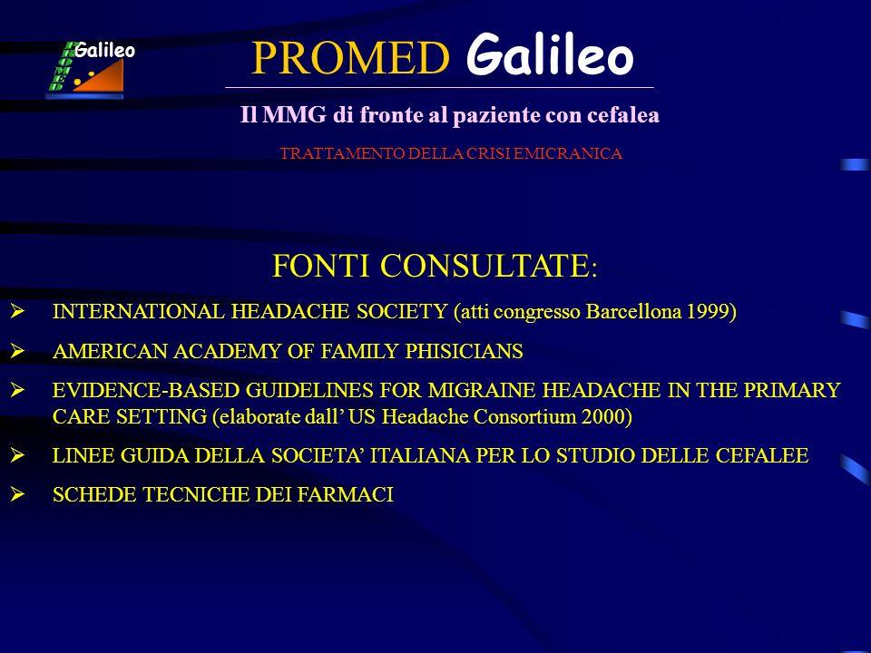 PROMED Galileo Il MMG di fronte al paziente con cefalea Galileo TRATTAMENTO DELLA CRISI EMICRANICA FONTI CONSULTATE : INTERNATIONAL HEADACHE SOCIETY (