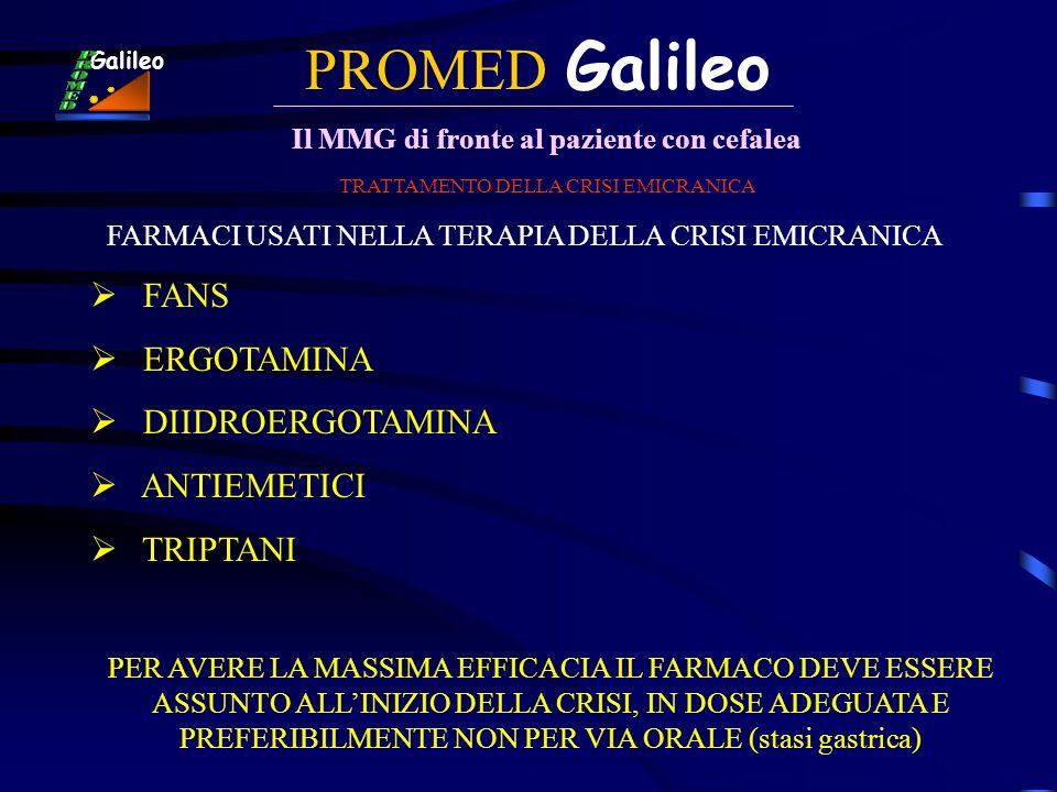 PROMED Galileo Il MMG di fronte al paziente con cefalea Galileo TRATTAMENTO DELLA CRISI EMICRANICA FARMACI USATI NELLA TERAPIA DELLA CRISI EMICRANICA