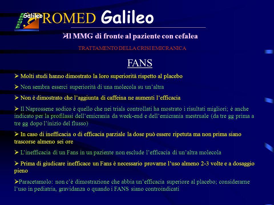 PROMED Galileo Il MMG di fronte al paziente con cefalea Galileo FANS TRATTAMENTO DELLA CRISI EMICRANICA Molti studi hanno dimostrato la loro superiori