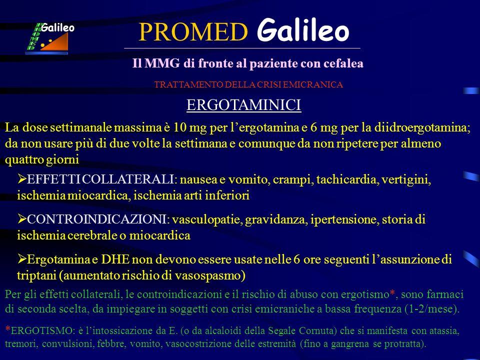 PROMED Galileo Il MMG di fronte al paziente con cefalea Galileo TRATTAMENTO DELLA CRISI EMICRANICA ERGOTAMINICI EFFETTI COLLATERALI: nausea e vomito,