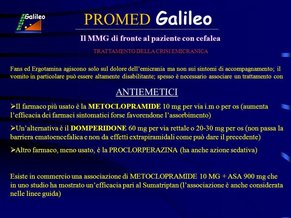 PROMED Galileo Il MMG di fronte al paziente con cefalea Galileo TRATTAMENTO DELLA CRISI EMICRANICA Fans ed Ergotamina agiscono solo sul dolore dellemi