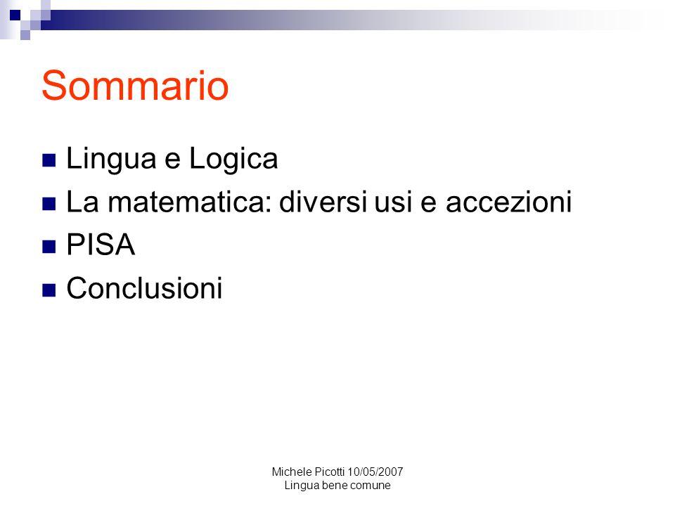 Michele Picotti 10/05/2007 Lingua bene comune Studenti che non superano il livello 1 in matematica per tipo di scuola Licei: 18 % Istituti Tecnici: 27% Istituti Professionali: 58%