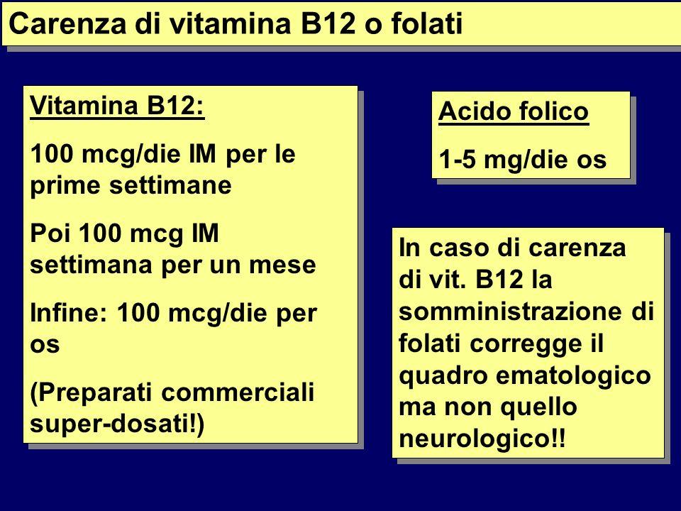 Carenza di vitamina B12 o folati Vitamina B12: 100 mcg/die IM per le prime settimane Poi 100 mcg IM settimana per un mese Infine: 100 mcg/die per os (