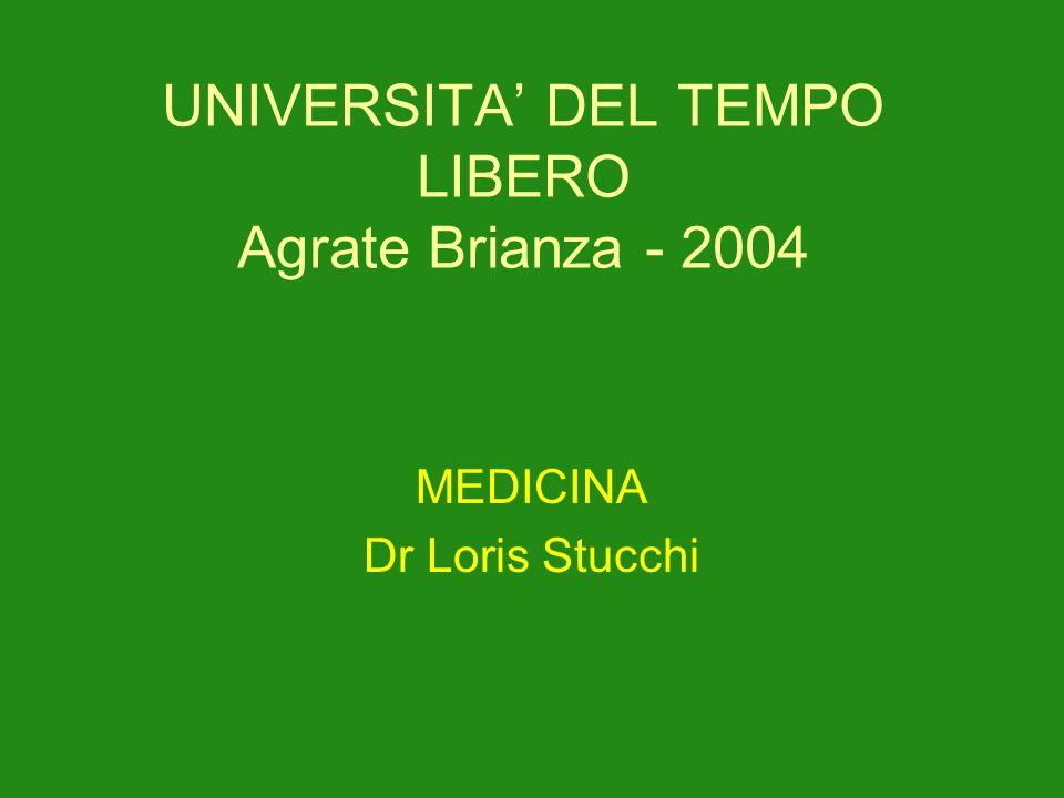 UNIVERSITA DEL TEMPO LIBERO Agrate Brianza - 2004 MEDICINA Dr Loris Stucchi