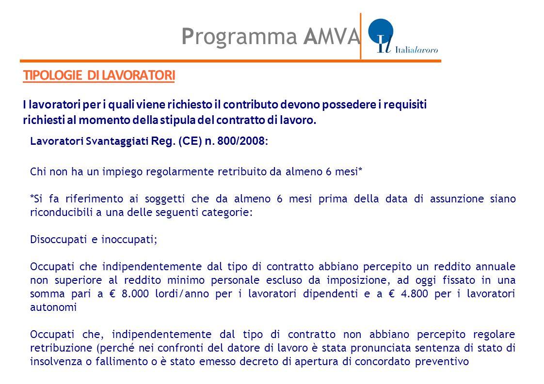 Programma AMVA TIPOLOGIE DI LAVORATORI I lavoratori per i quali viene richiesto il contributo devono possedere i requisiti richiesti al momento della