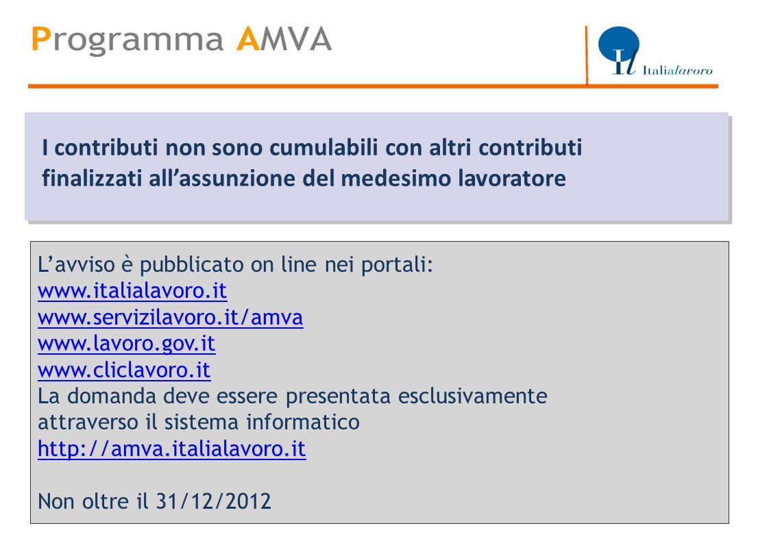 Titolo Lavviso è pubblicato on line nei portali: www.italialavoro.it www.servizilavoro.it/amva www.lavoro.gov.it www.cliclavoro.it La domanda deve ess