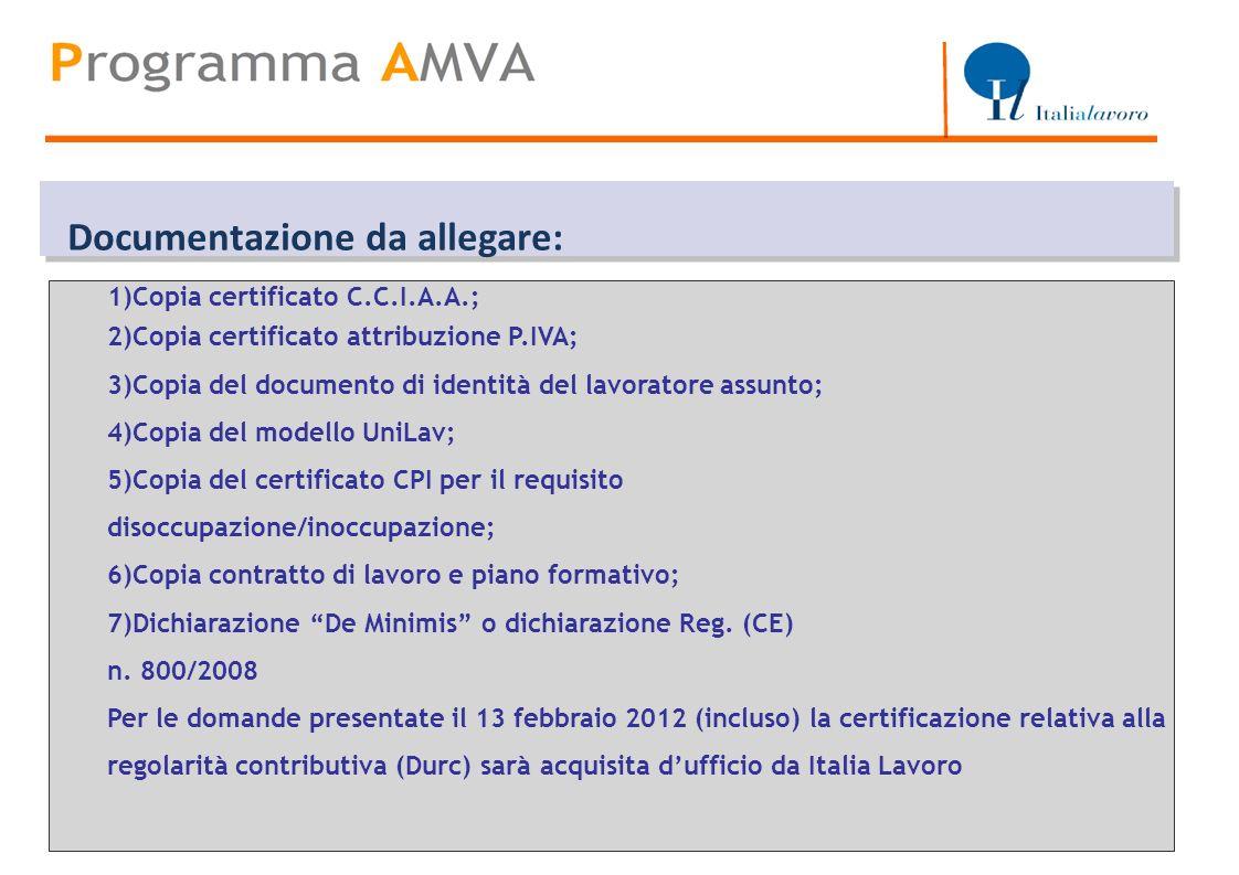 Titolo 1)Copia certificato C.C.I.A.A.; 2)Copia certificato attribuzione P.IVA; 3)Copia del documento di identità del lavoratore assunto; 4)Copia del m