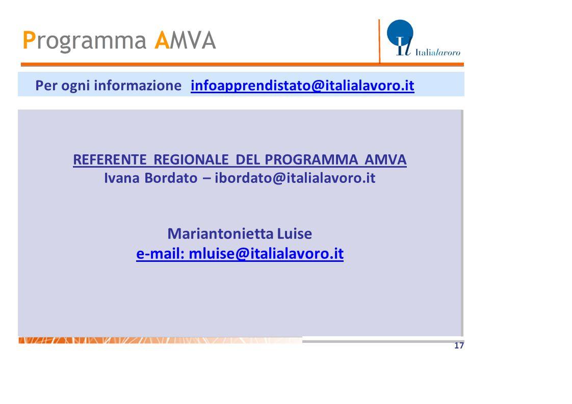 Per ogni informazione infoapprendistato@italialavoro.it REFERENTE REGIONALE DEL PROGRAMMA AMVA Ivana Bordato – ibordato@italialavoro.it Mariantonietta
