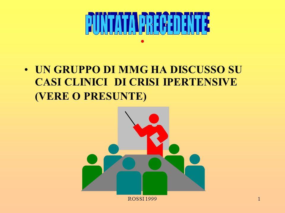 ROSSI 19991. UN GRUPPO DI MMG HA DISCUSSO SU CASI CLINICI DI CRISI IPERTENSIVE (VERE O PRESUNTE)