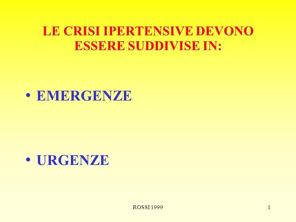 ROSSI 19991 LE CRISI IPERTENSIVE DEVONO ESSERE SUDDIVISE IN: EMERGENZE URGENZE