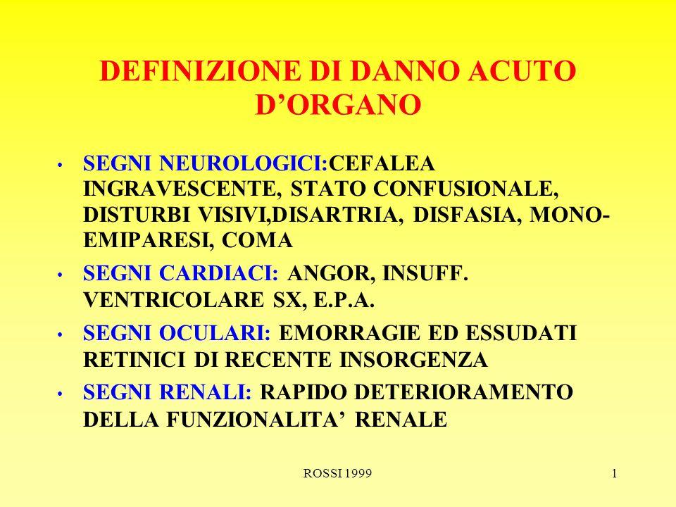 ROSSI 19991 DEFINIZIONE DI DANNO ACUTO DORGANO SEGNI NEUROLOGICI:CEFALEA INGRAVESCENTE, STATO CONFUSIONALE, DISTURBI VISIVI,DISARTRIA, DISFASIA, MONO- EMIPARESI, COMA SEGNI CARDIACI: ANGOR, INSUFF.
