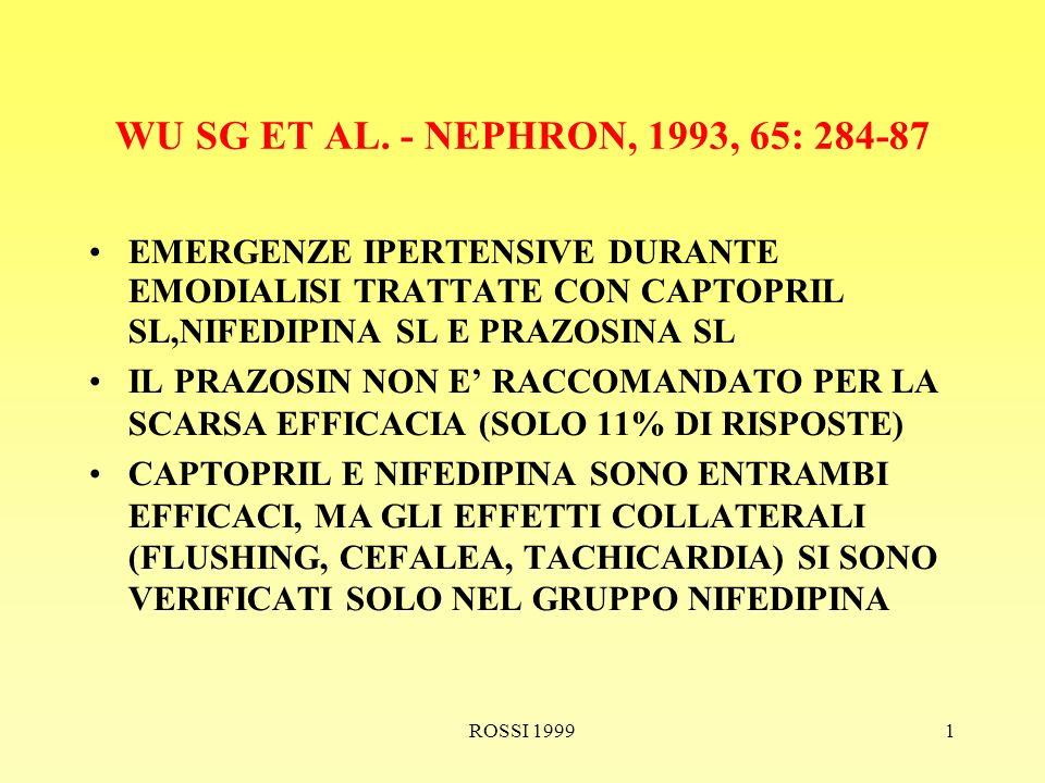 ROSSI 19991 EMERGENZE IPERTENSIVE RICOVERARE IL PAZIENTE NEL FRATTEMPO SOMMINISTRARE: NITRATO S.L.