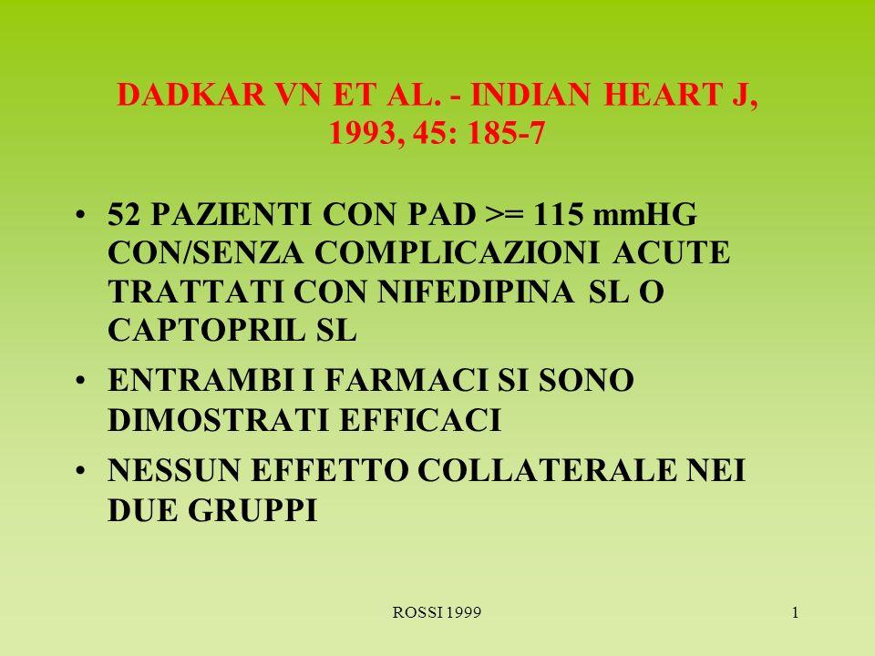 ROSSI 19991 GALES MA ET AL.- ANN PHARMACOTHER 1994, 28:352-8 RIVALUTA I DATI DISPONIBILI CIRCA 4 FARMACI USATI NELLE URGENZE IPERTENSIVE CLONIDINA E NIFEDIPINA EFFICACI, MA CON POSSIBILI EFFETTI COLLATERALI GRAVI CAPTOPRIL E LABETALOLO PIU SICURI NON VI E DIMOSTRAZIONE DI BENEFICIO DALLABBASSAMENTO BRUSCO DELLA PRESSIONE NEI PAZIENTI ASINTOMATICI