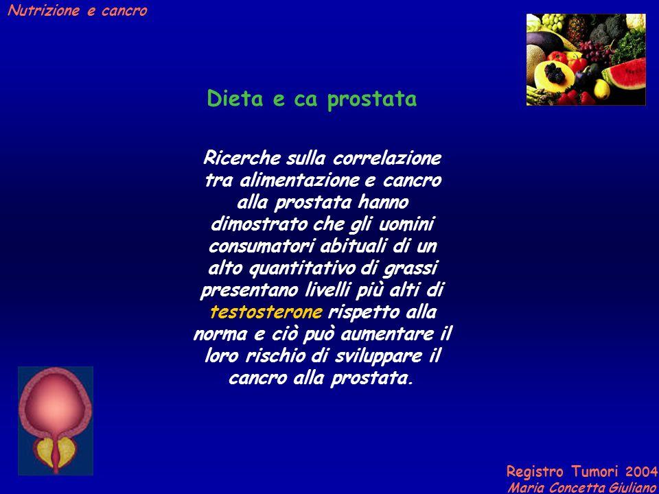 Registro Tumori 2004 Maria Concetta Giuliano Nutrizione e cancro Dieta e ca prostata Ricerche sulla correlazione tra alimentazione e cancro alla prostata hanno dimostrato che gli uomini consumatori abituali di un alto quantitativo di grassi presentano livelli più alti di testosterone rispetto alla norma e ciò può aumentare il loro rischio di sviluppare il cancro alla prostata.