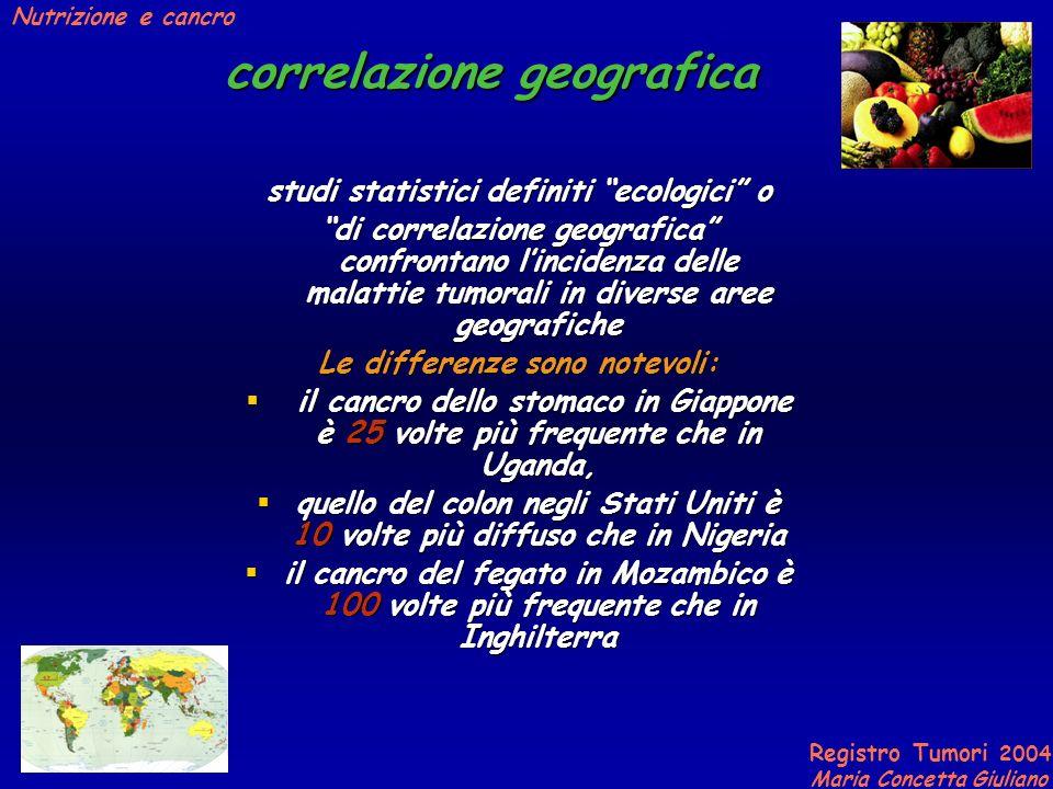 Registro Tumori 2004 Maria Concetta Giuliano Nutrizione e cancro correlazione geografica forti differenze nellincidenza del cancro si riscontrano tra popolazioni indigene ed emigranti.