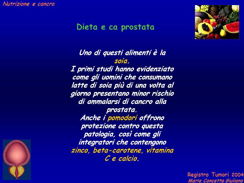 Registro Tumori 2004 Maria Concetta Giuliano Nutrizione e cancro Uno di questi alimenti è la soia.