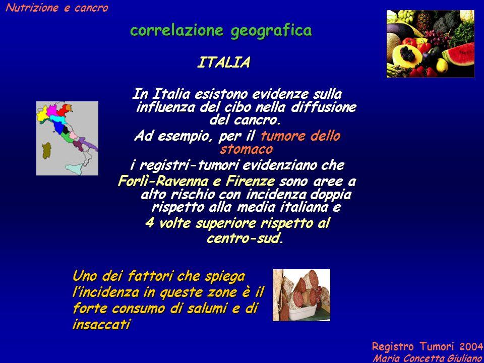 Registro Tumori 2004 Maria Concetta Giuliano Nutrizione e cancro correlazione geografica In Italia esistono evidenze sulla influenza del cibo nella diffusione del cancro.