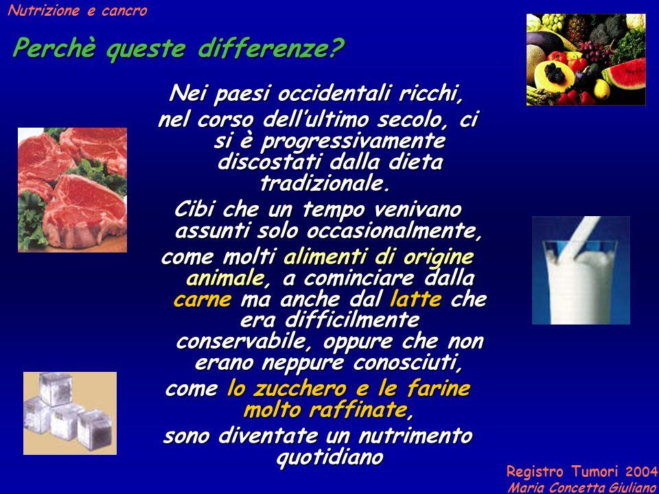 Registro Tumori 2004 Maria Concetta Giuliano Nutrizione e cancro Perchè queste differenze.