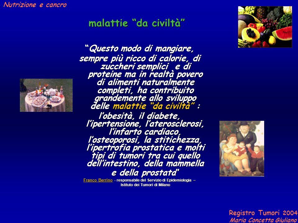 Registro Tumori 2004 Maria Concetta Giuliano Nutrizione e cancro