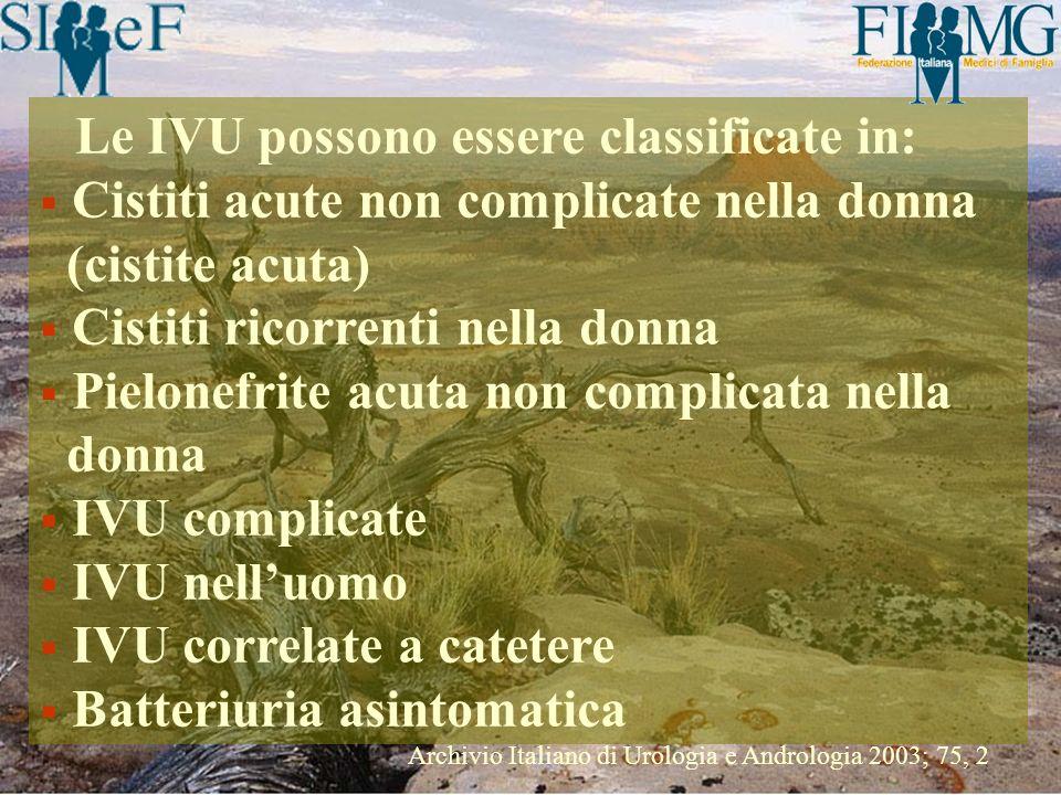 Le IVU possono essere classificate in: Cistiti acute non complicate nella donna (cistite acuta) Cistiti ricorrenti nella donna Pielonefrite acuta non
