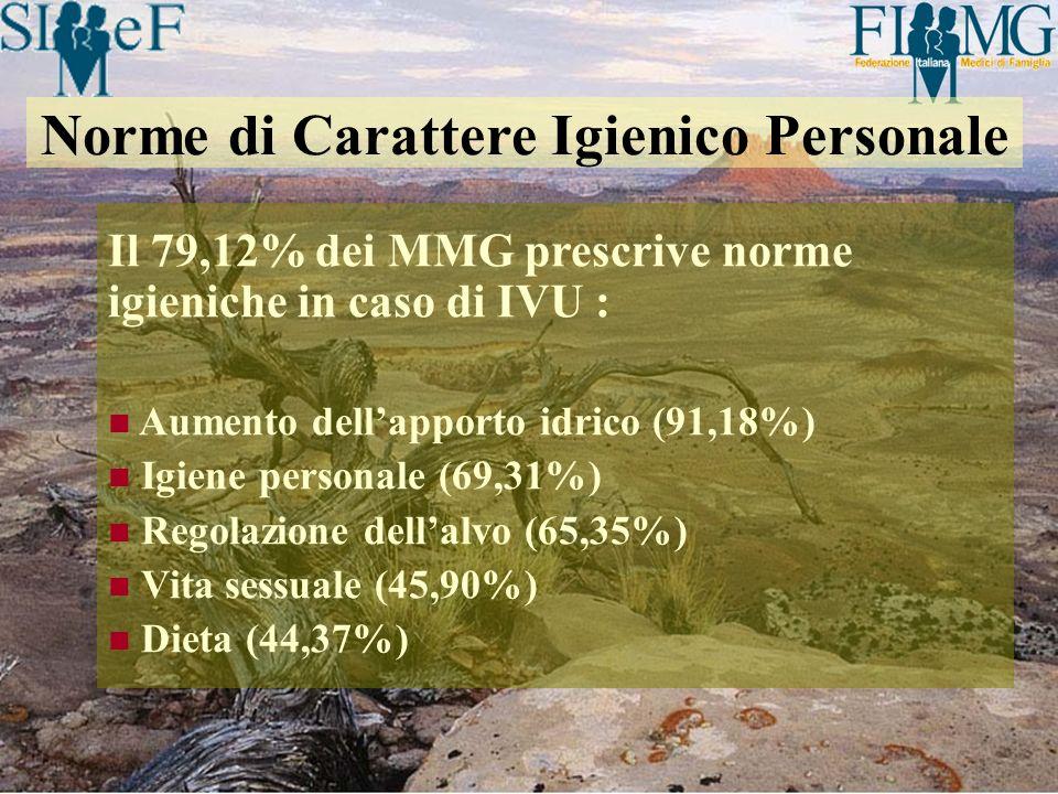 Il 79,12% dei MMG prescrive norme igieniche in caso di IVU : Aumento dellapporto idrico (91,18%) Igiene personale (69,31%) Regolazione dellalvo (65,35