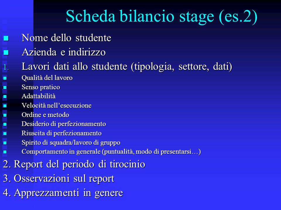 Scheda bilancio stage (es.2) Nome dello studente Nome dello studente Azienda e indirizzo Azienda e indirizzo 1. Lavori dati allo studente (tipologia,