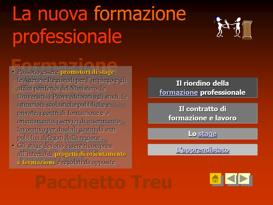 Lo stage Lo stage Il contratto di Il contratto di formazione e lavoro formazione e lavoro Lapprendistato Il riordino della Il riordino della formazion