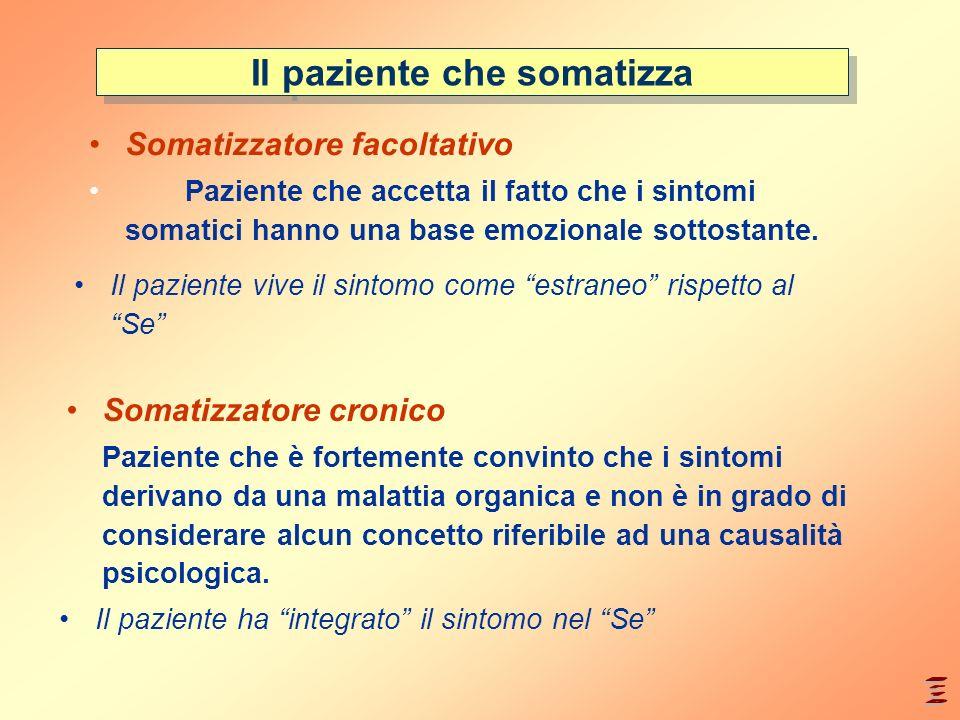 Il paziente che somatizza Somatizzatore facoltativo Paziente che accetta il fatto che i sintomi somatici hanno una base emozionale sottostante. Somati