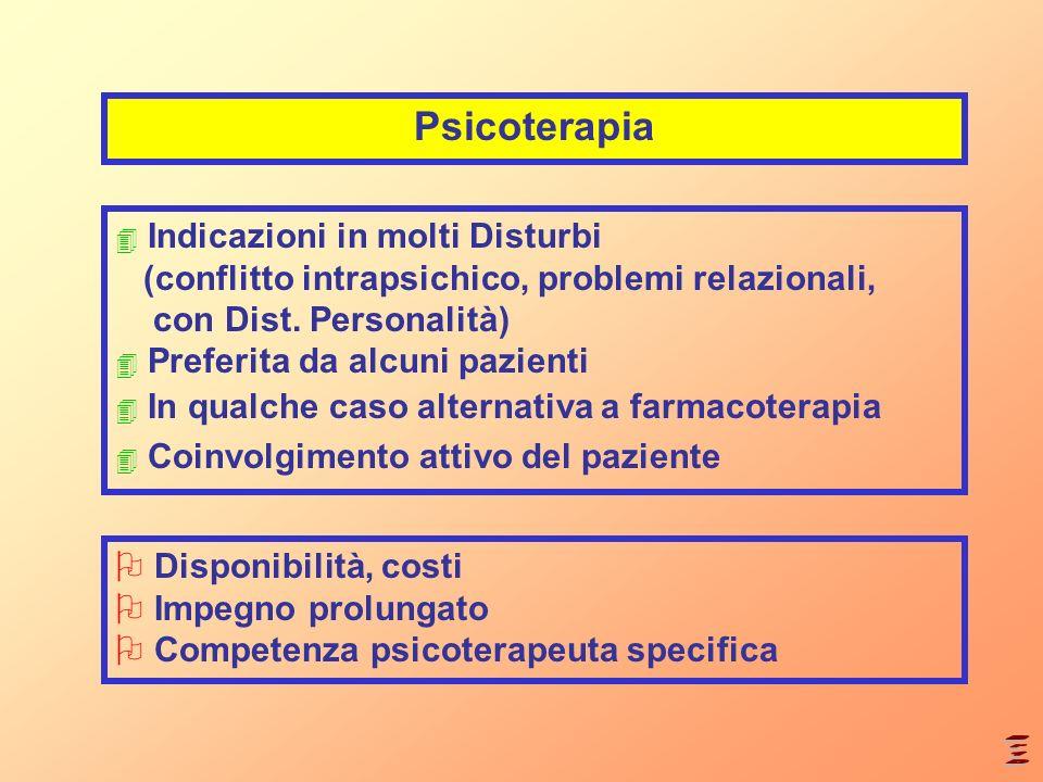 Psicoterapia 4 Indicazioni in molti Disturbi (conflitto intrapsichico, problemi relazionali, con Dist. Personalità) 4 Preferita da alcuni pazienti 4 I