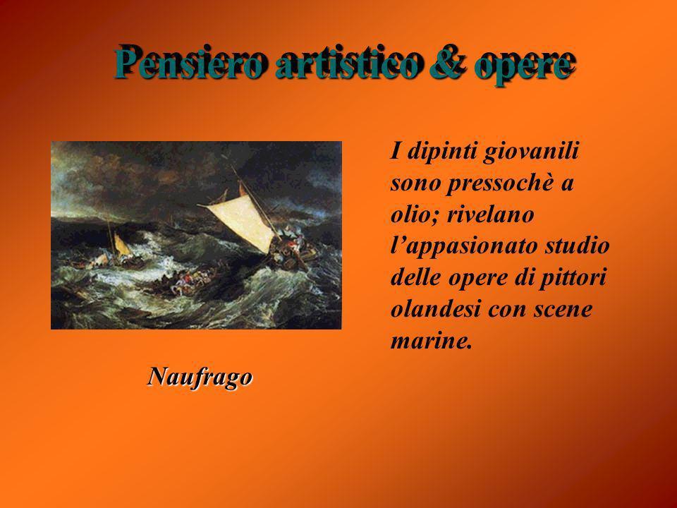 Pensiero artistico & opere I dipinti giovanili sono pressochè a olio; rivelano lappasionato studio delle opere di pittori olandesi con scene marine. N