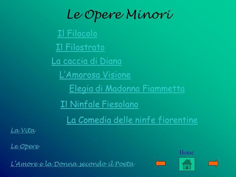 Le Opere Minori Il Filocolo Il Filostrato LAmorosa Visione Elegia di Madonna Fiammetta Il Ninfale Fiesolano Le Opere LAmore e la Donna secondo il Poet