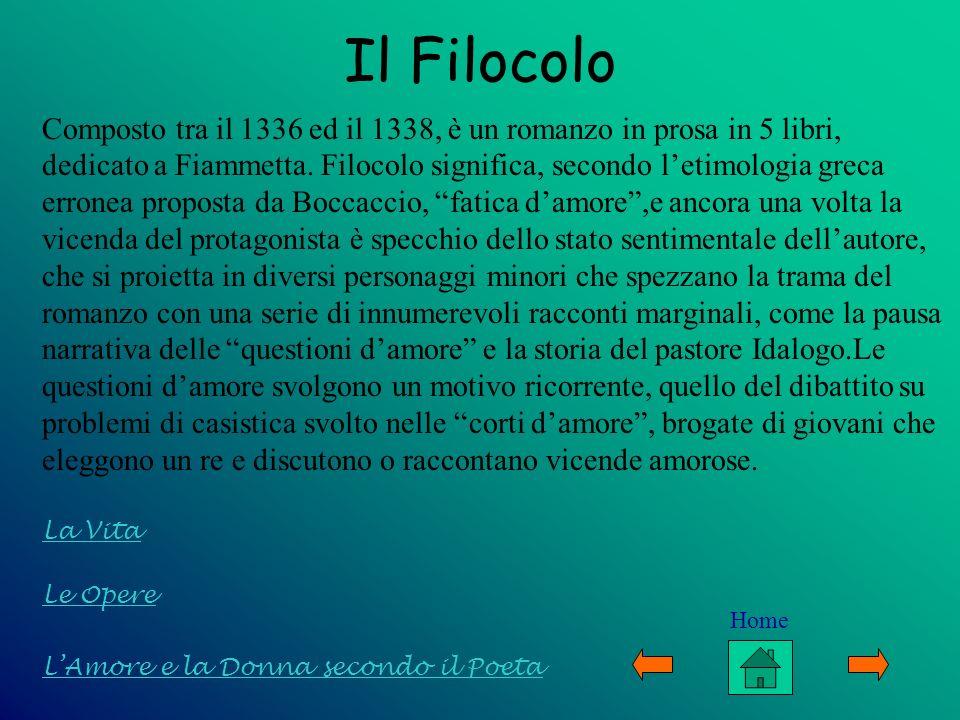 Le Opere LAmore e la Donna secondo il Poeta La Vita Il Filocolo Composto tra il 1336 ed il 1338, è un romanzo in prosa in 5 libri, dedicato a Fiammett