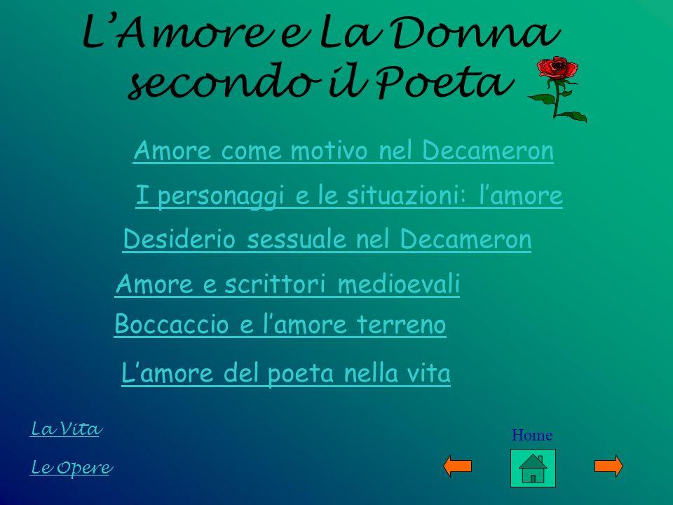 LAmore e La Donna secondo il Poeta Le Opere La Vita Amore come motivo nel Decameron I personaggi e le situazioni: lamore Desiderio sessuale nel Decame