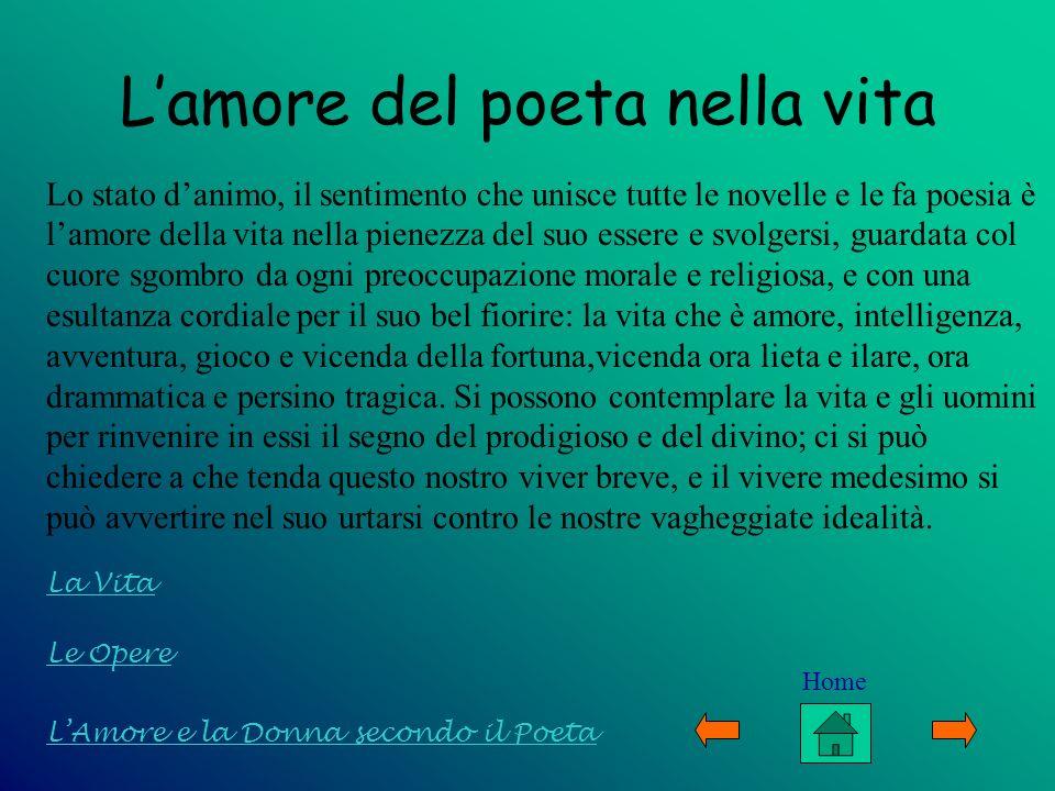 Lamore del poeta nella vita Lo stato danimo, il sentimento che unisce tutte le novelle e le fa poesia è lamore della vita nella pienezza del suo esser