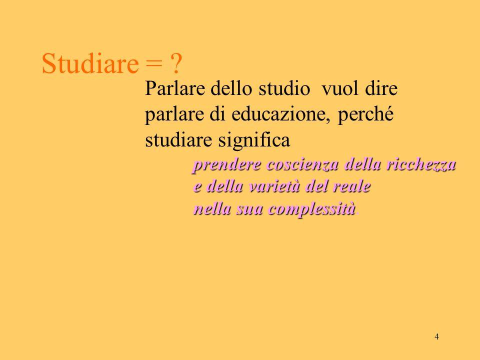 3 Materie di studio = ? Ogni disciplina di studio è un punto di vista sulla realtà comunicato (messo in comune) dal docente. Lo studio = assunzione pe