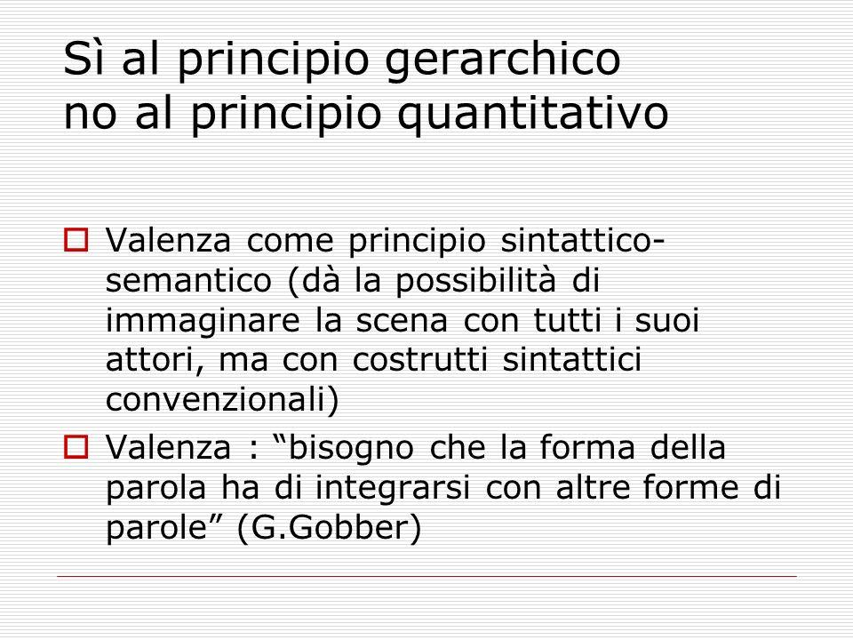 Sì al principio gerarchico no al principio quantitativo Valenza come principio sintattico- semantico (dà la possibilità di immaginare la scena con tut