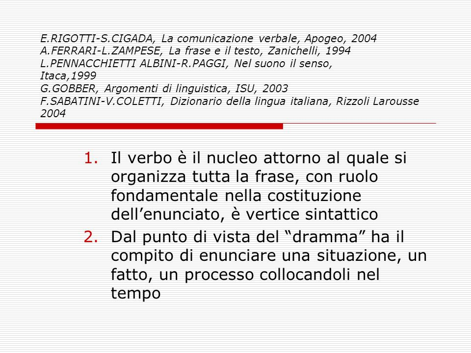 E.RIGOTTI-S.CIGADA, La comunicazione verbale, Apogeo, 2004 A.FERRARI-L.ZAMPESE, La frase e il testo, Zanichelli, 1994 L.PENNACCHIETTI ALBINI-R.PAGGI,